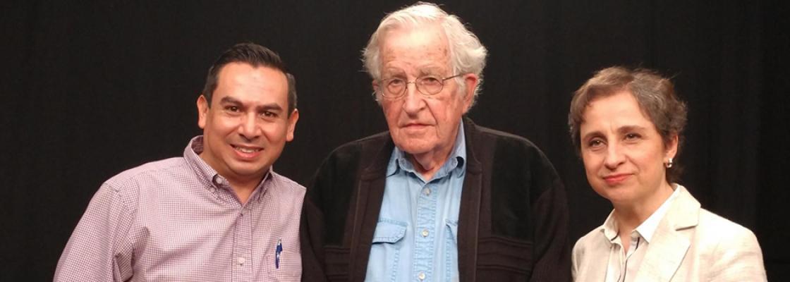 Dr. Luis Coronado Guel, Professor Noam Chomsky, and Carmen Aristegui